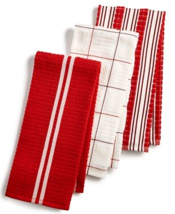 Martha Stewart Collection 3-Pc. Terry Cloth Kitchen Towels ...