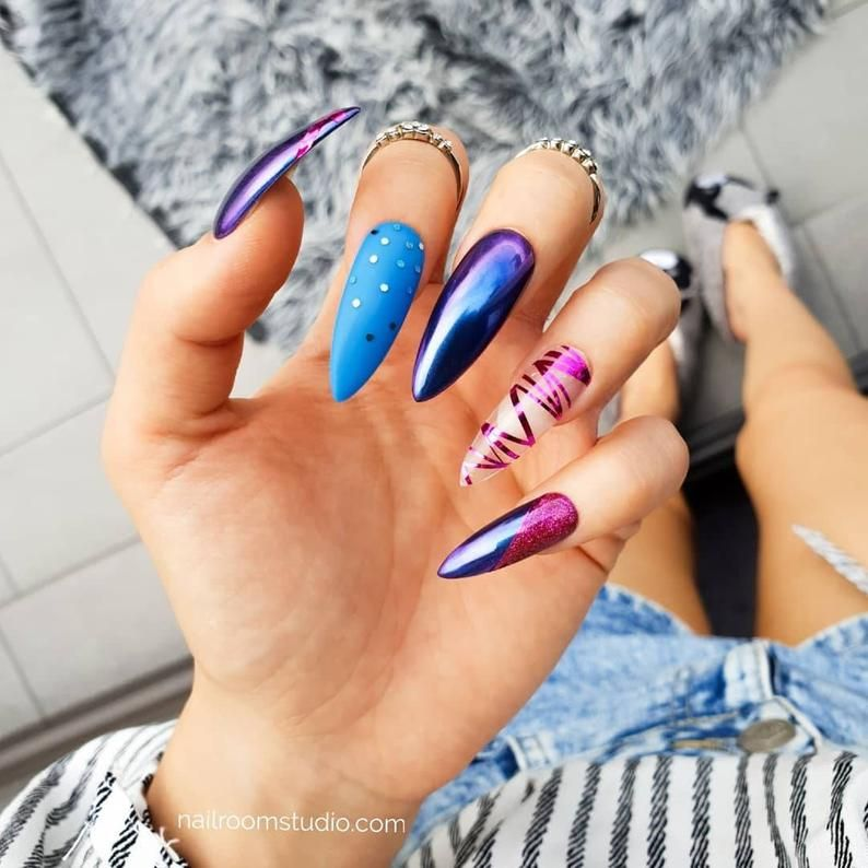 Chrome Chameleon And Pink Press On Nails Custom Press On Nails Extra Long Long Short Coffin Stiletto Press On Nails Coffin Shape Nails Long Nails