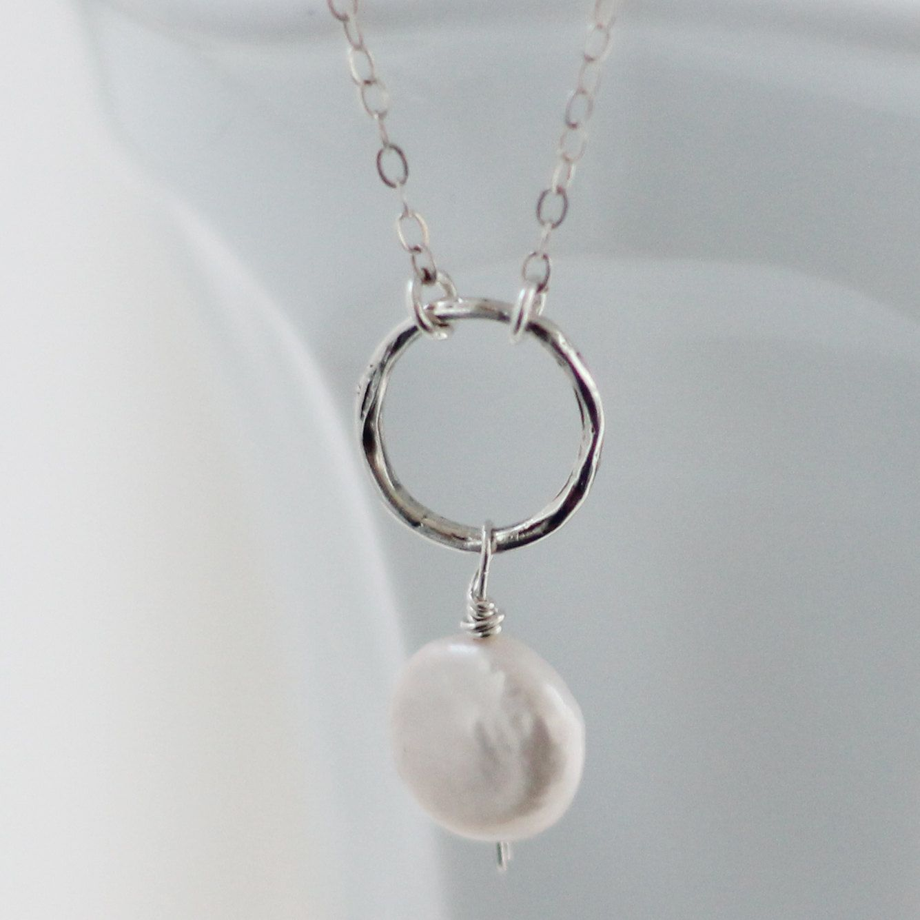 Eternity Circle Coin Pearl Necklace Simple White Bridal Jewelry Wire ...