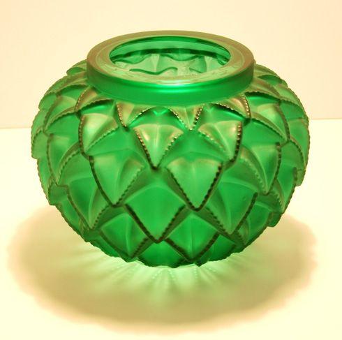 Rene Lalique moulded green vase    Art Deco moulded green glass vase, serrated leaf design Languedoc  Rene Lalique  Designed 1929