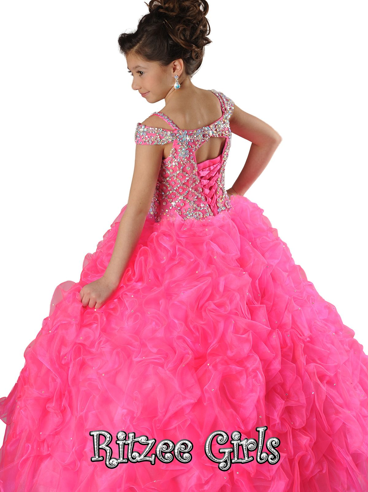 Crystal Sweetheart Bodice Ritzee Girls Pageant Ball Gown  6566|PageantDesigns.com