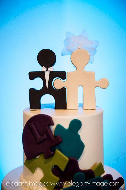 Puzzle piece wedding cake topper @Lions Crest Manor