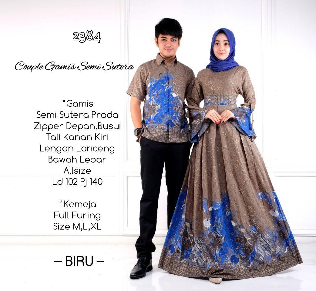 Model Baju Batik Gamis Couple D2384 Semisutera 2018 Baju Batik