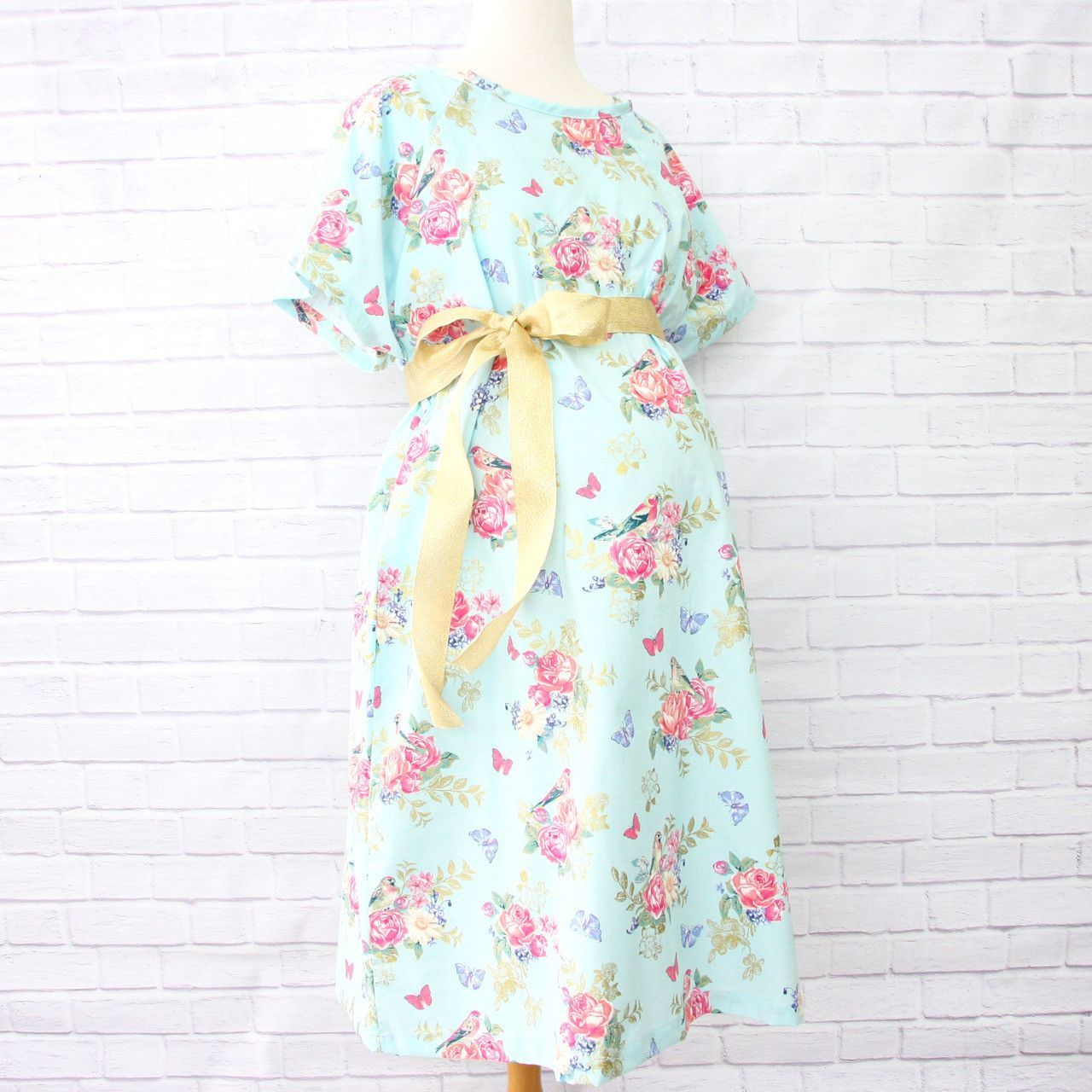 Hospital gown in emmaus blue u gold floral beautiful blue gold