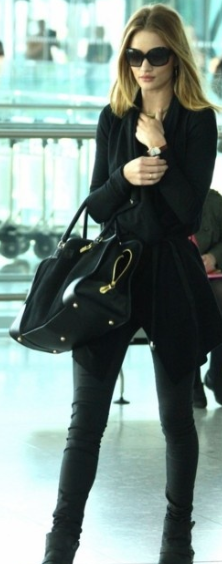 black leather on black + black shades- chic