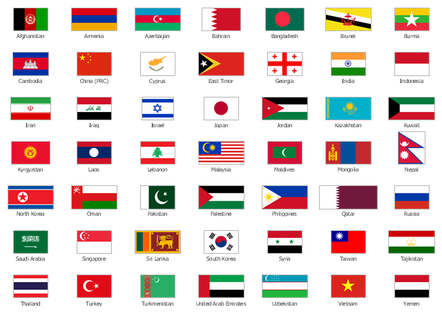 Pict Asia State Flags Design Elements Asia Flags 640 457 Country Flag List Asia Continent Alphabet Worksheets Preschool