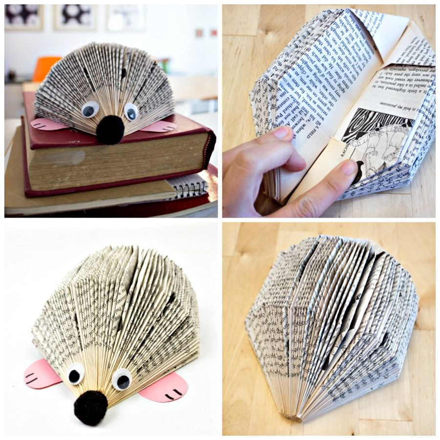 How To Make An Adorable Paperback Book Hedgehog In 2020 Hedgehog Craft Folded Book Art Hedgehog Book