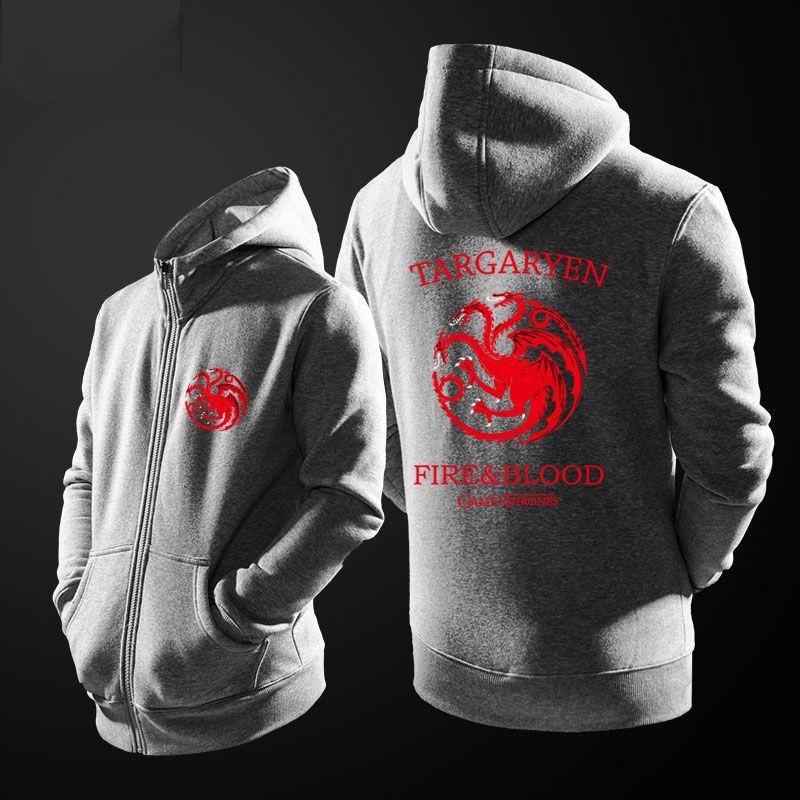 Quality Game Of Thrones House Targaryen Hoodie Red Three Headed Dragon Sweatshirt Hoodies Sweatshirts Red Hoodie