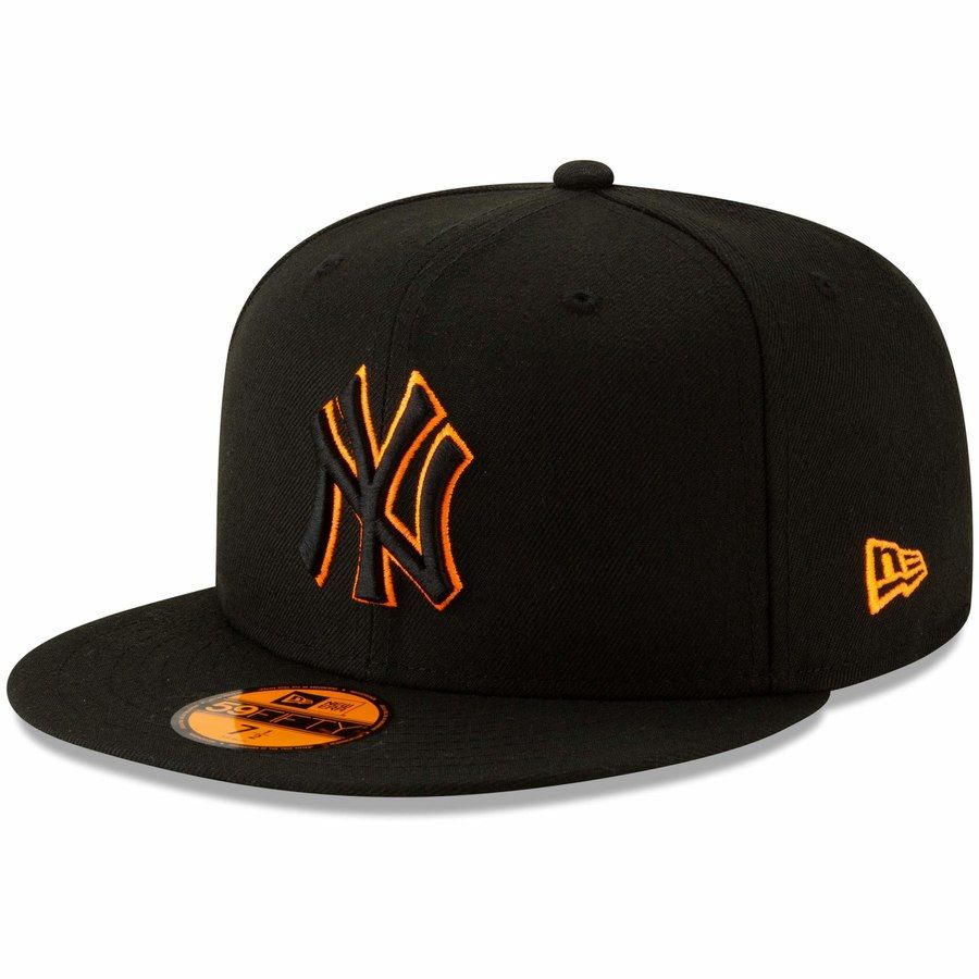 Mens new york yankees new era black orange outline neon