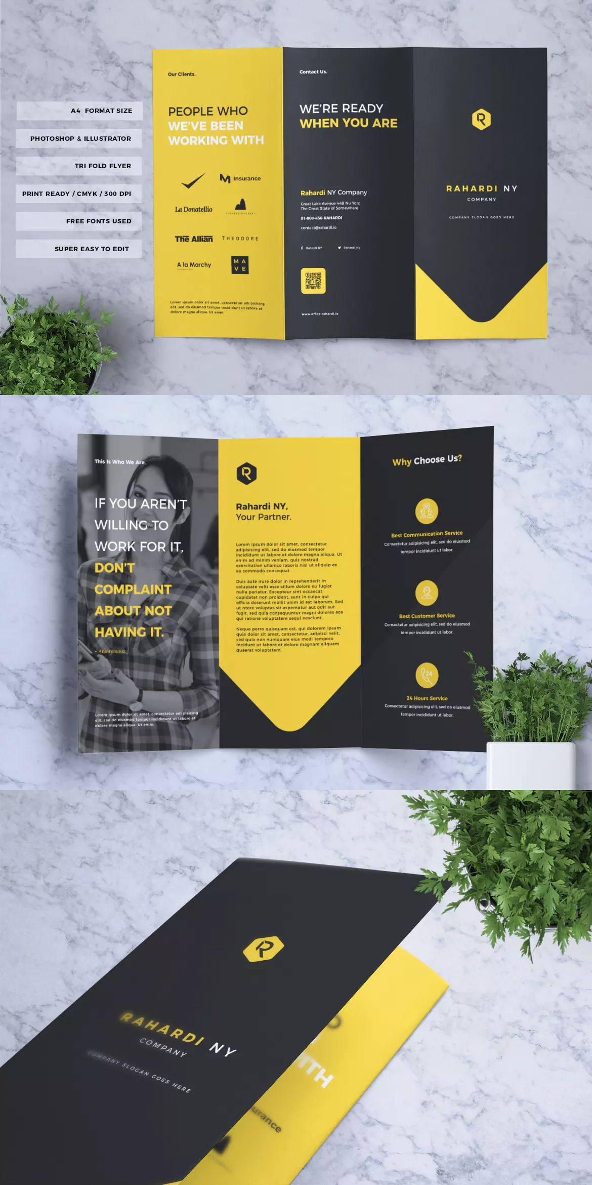 Corporate Business Trifold Flyer Template Ai Eps Psd A4 Format