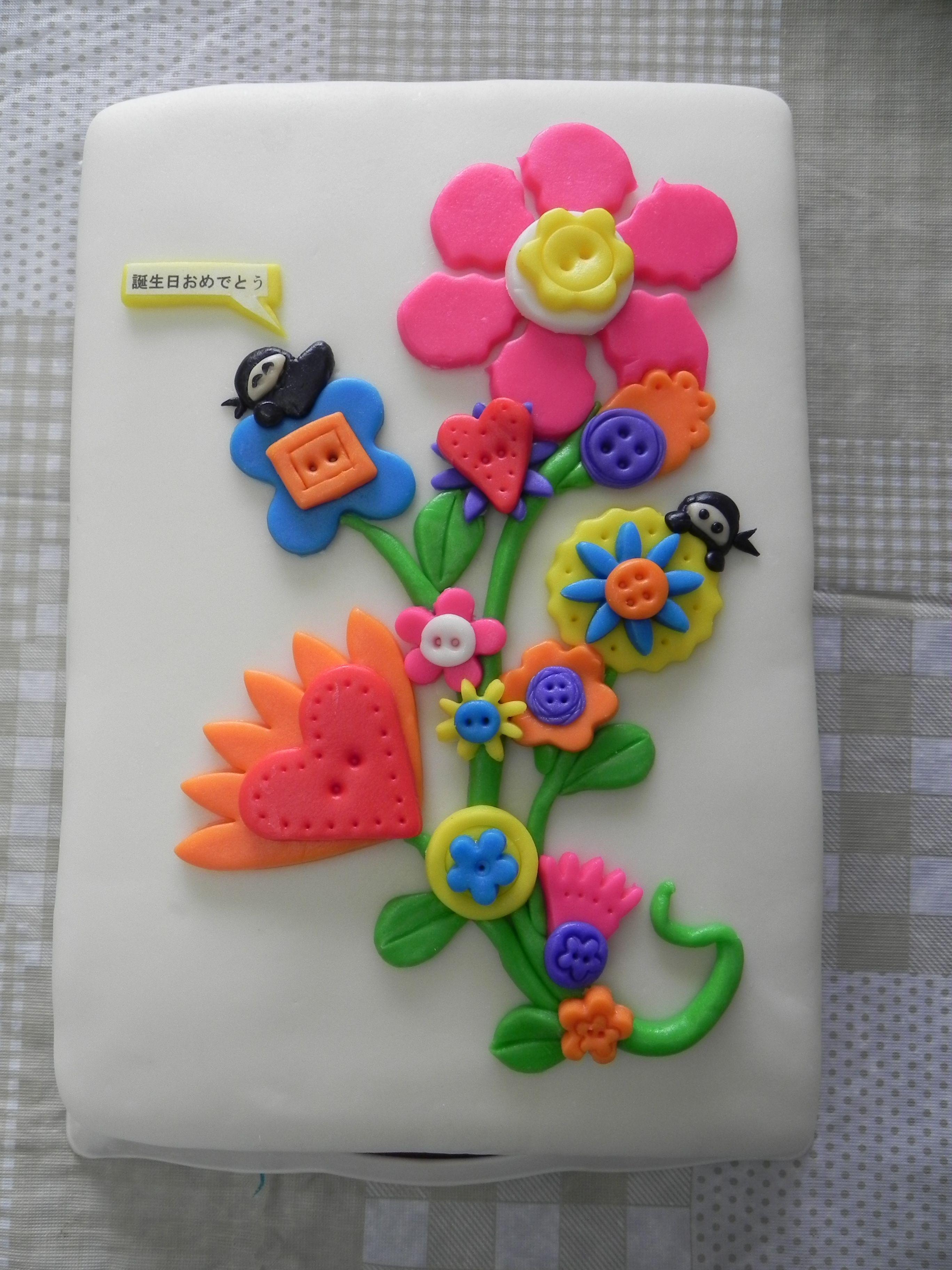 Button flower ninja cake cakes i like pinterest ninja cake