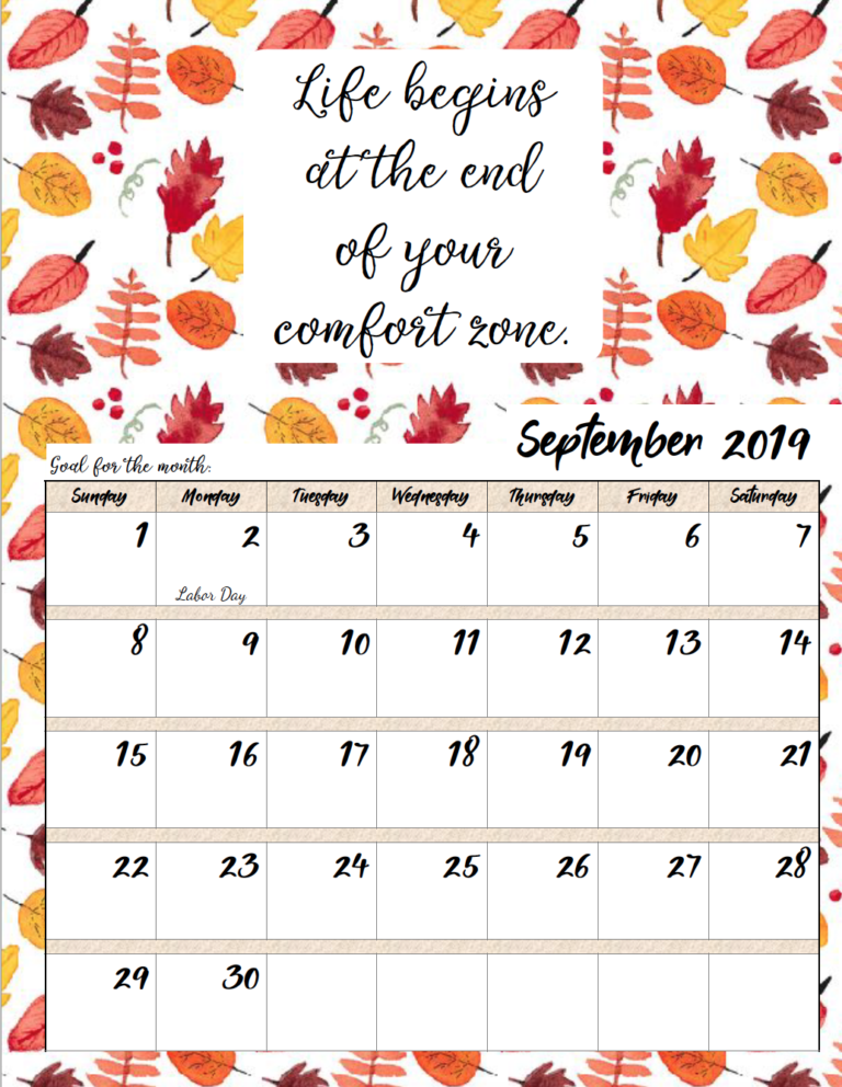January 2019 Printable Calendardaily Quotes Free Printable 2019 Monthly Motivational Calendars | Calendar