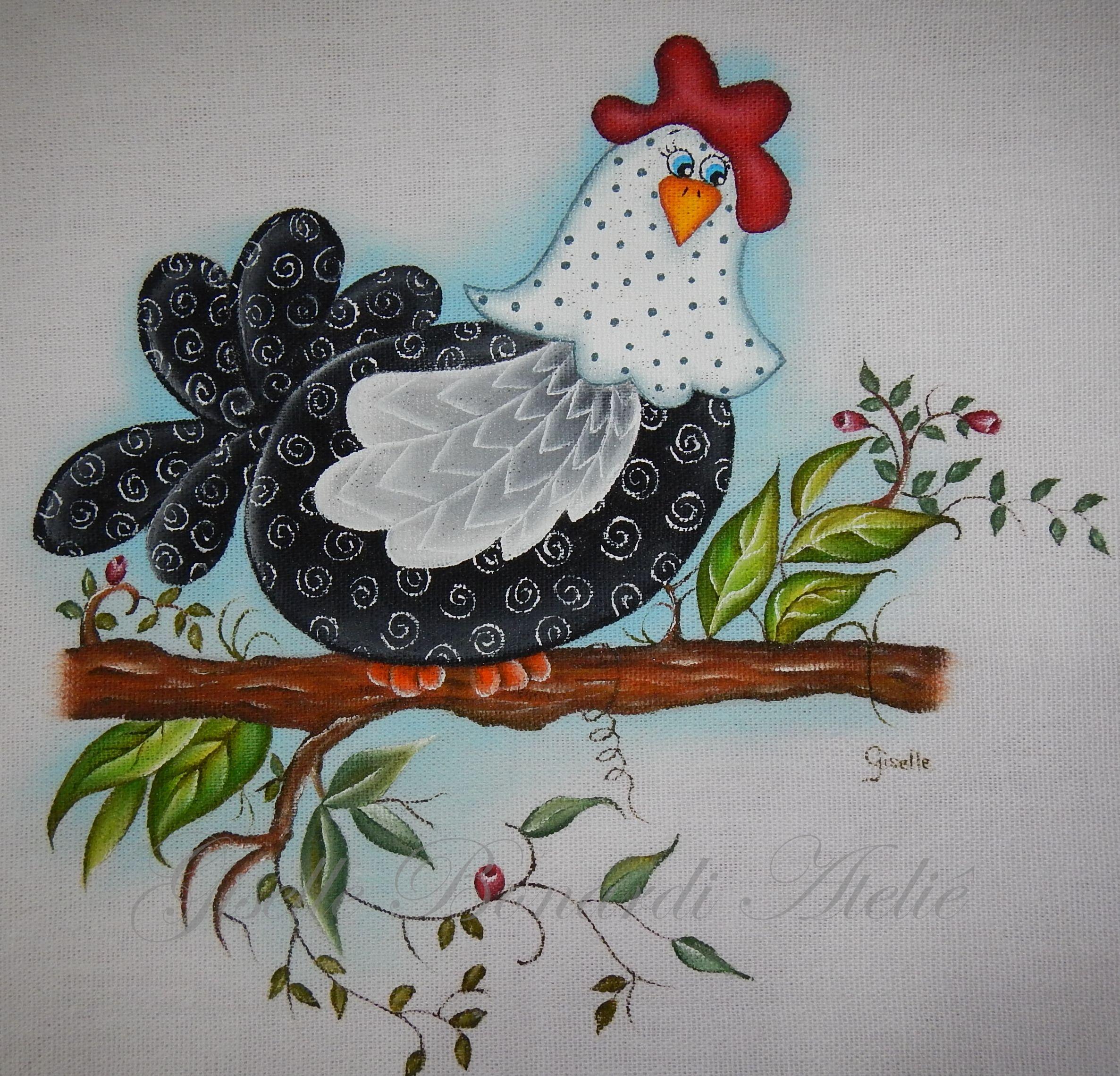 Resultado de imagen de paños cocina pintados con gallinas | diseños ...