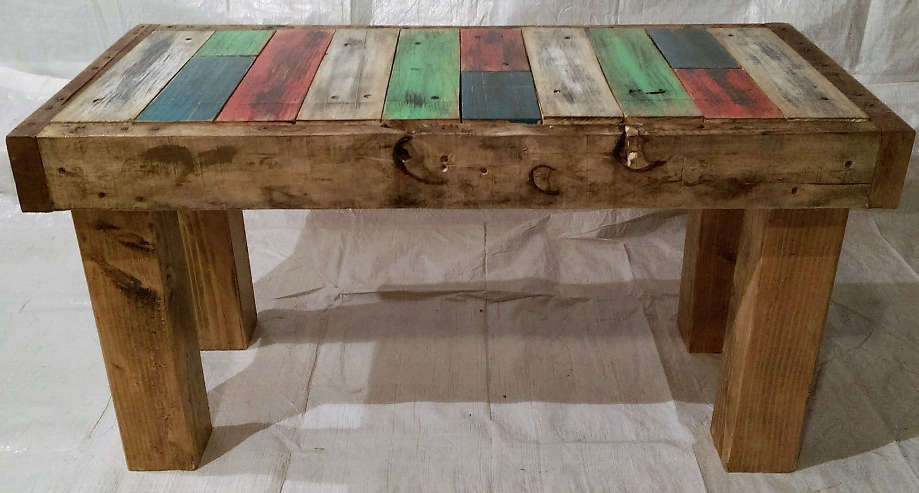 Rustic Wood Bench Coffee Table Reclaimed Pallet