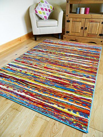 Bright Colored Living Room Rugs Small Round Tables Multi Coloured Stripe Funky Modern Thick Soft Heavy Quality Area Rug Medium Xx Large