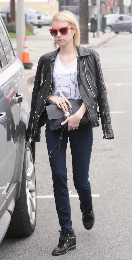 Street Style   Biker jacket, Dolce & Gabbana sunglasses.   #EmmaRoberts.