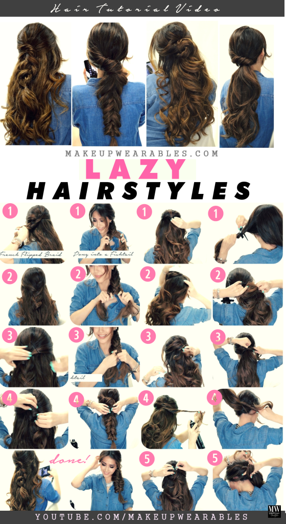 Lazy Easy Fall Hairstyles | Braids + Ponytail | Long hair tutorial ...