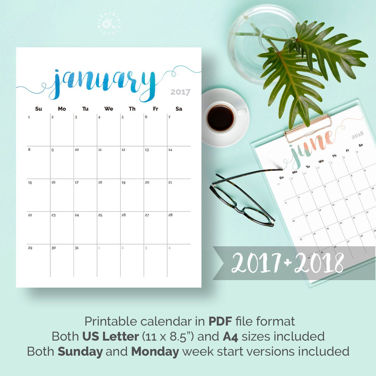 download your free 2017 printable monthly calendar the birch cottage