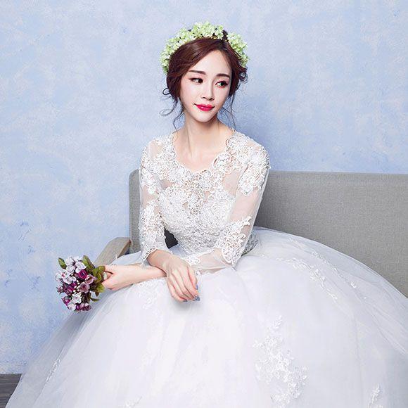a7addd4f03184 姫風 マタニティドレス ウェディングドレス 袖あり 安い 花嫁 ドレス 結婚式 ウエディングドレス ブライダル