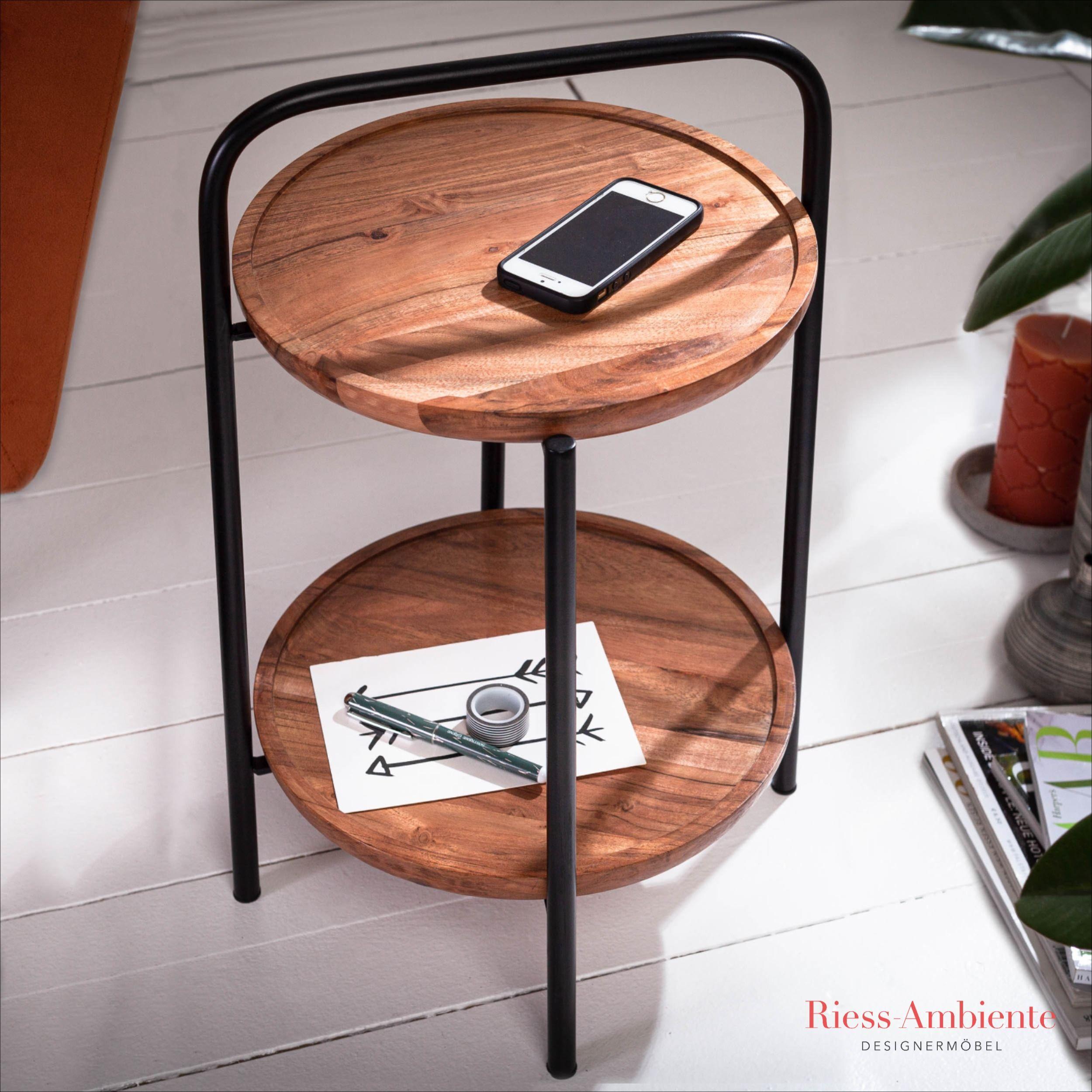 Retro Beistelltisch Aus Akazienholz Riess Ambiente De Tisch Couchtisch Rund Retro Möbel