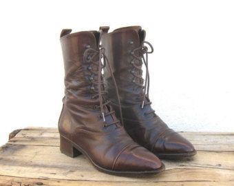 5130cd4a3d59f 15% Off SALE Vintage Joan and David Worn In Chocolate Brown Leather Lace up  Granny Boots Ladies Size 7-7.5