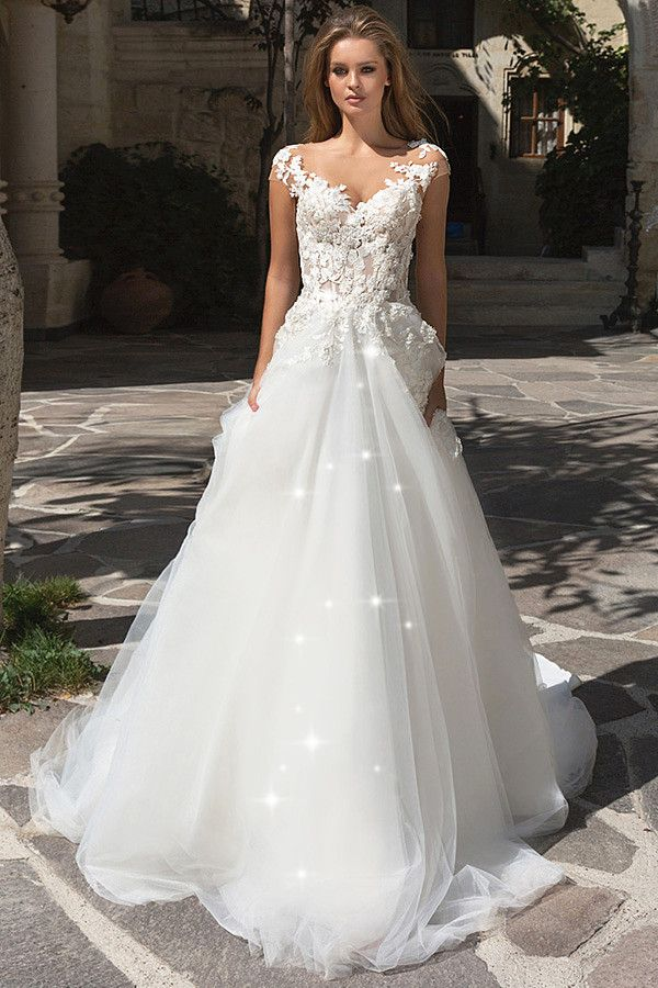 Glamorous Tulle Bateau Neckline See-through Bodice A-Line Wedding Dress  With Beaded Lace Appliques 703b8c9b782c