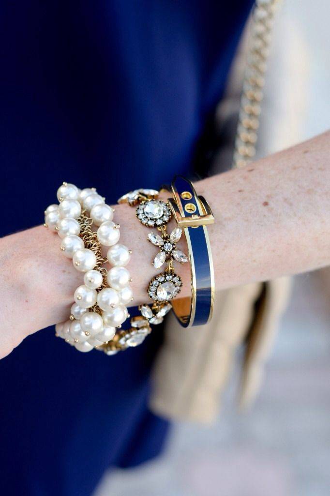Navy with a touch of pearls.