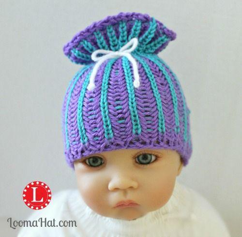 Loom Knit Brioche Stitch Paper Bag Sack Beanie Baby Hat Pattern