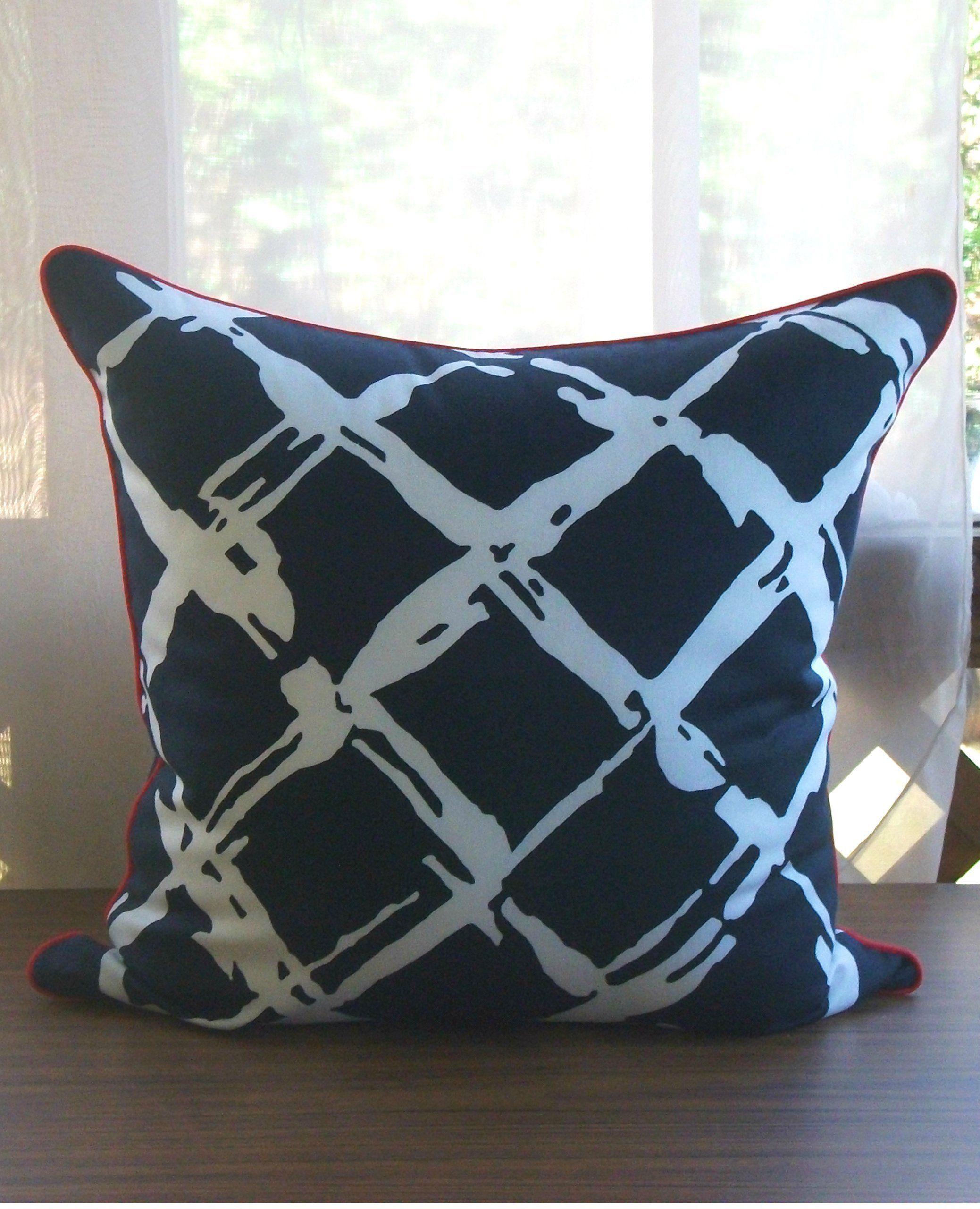 Handmade robert allen navy throw pillow cover large tidal wave