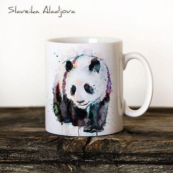 Panda Mug Watercolor Ceramic Mug Unique Gift Coffee Mug Animal Mug