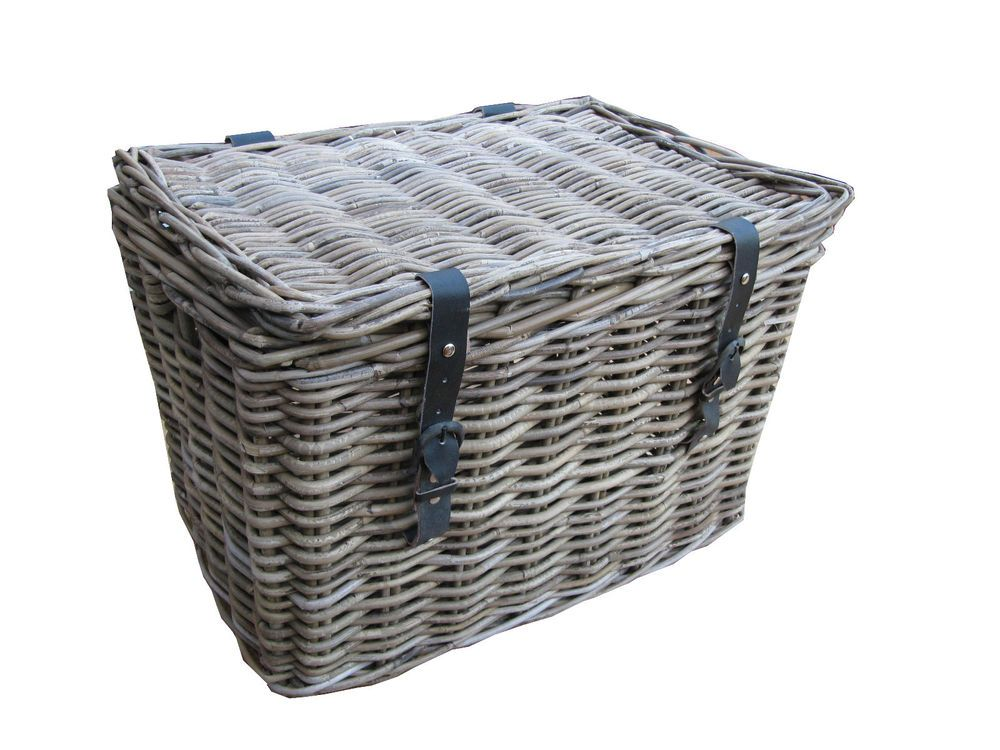 Awesome GREY U0026 BUFF RATTAN WICKER CHEST TRUNK STORAGE BASKET LARGE SMALL LAUNDRY  LID TOY