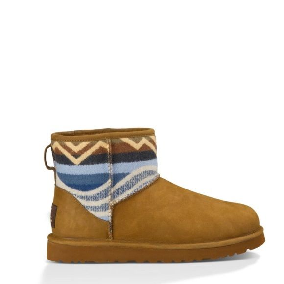 UGG authentic Pendleton boots Sz 9 new UGG authentic Pendleton boots Sz 11 new 100% AUTHENTIC STYLE 1010224 signature Twinface sheepskin meets famed Pendleton wool featuring a custom pattern inspired by the beaches and mountains of Southern California, where UGG® was founded. A plush wool insole and a lightweight, flexible outsole equip this enduring design with unmatched comfort. Custom designed Pendleton jacquard Twinface sheepskin Fully lined with UGGpure™ wool 5 1/2'' shaft height Molded…
