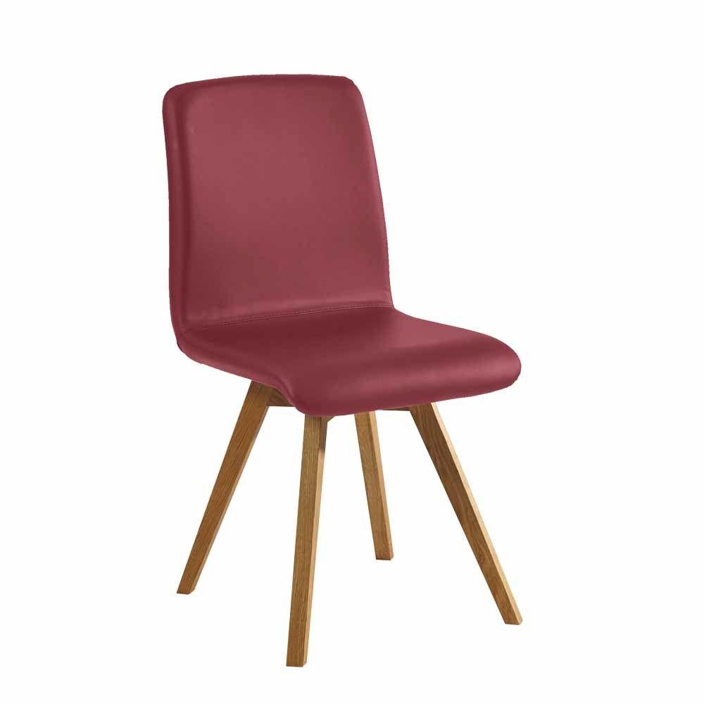 Stuhl in Dunkelrot Kunstleder Wildeiche Massivholz Jetzt bestellen ...