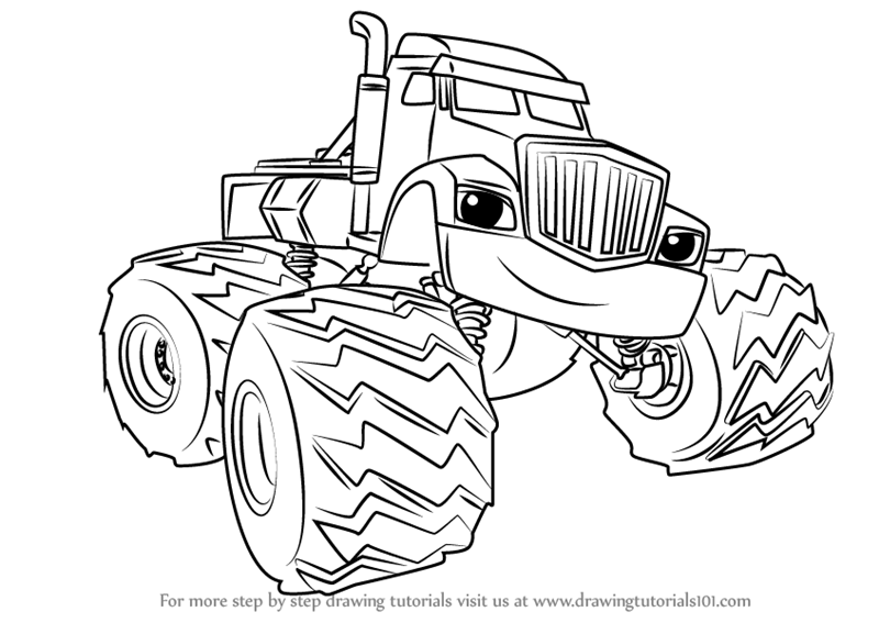 Step By Step How To Draw Crusher From Blaze And The Monster Machines Drawingtutorials101 Com Cartoon Coloring Pages Coloring Pages Cute Coloring Pages