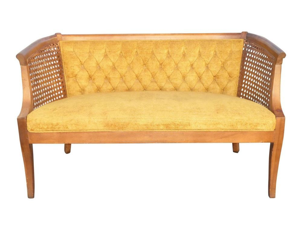 Vintage French Provincial Settee Bench Cane Yellow Tufted Velvet Mid Century Midcenturymodernfrenchprovincail Unknown