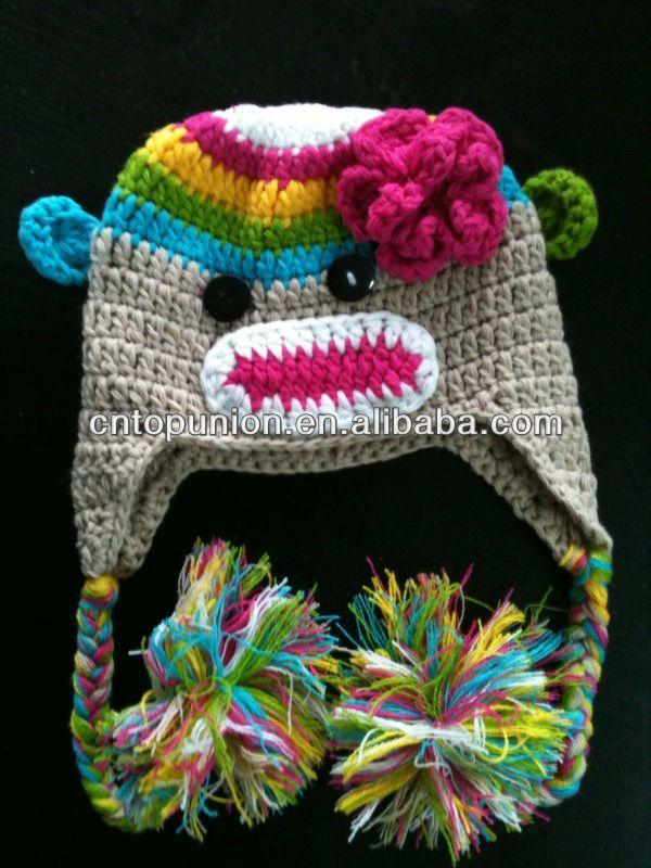 245c8a070f3 rainbow sock monkey crochet hat Baby Boy Girl Crochet Owl Animal Beanie Hat  cute baby crochet hat