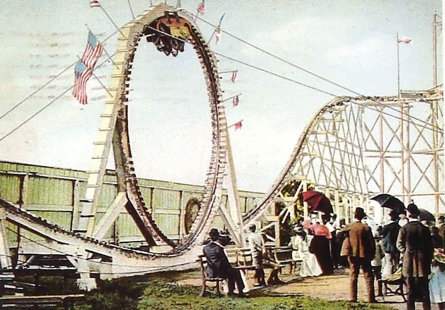 Postcard image - of the Flip Flap Railway, looping wooden roller ...