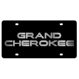 jeep grand cherokee license plate on black steel
