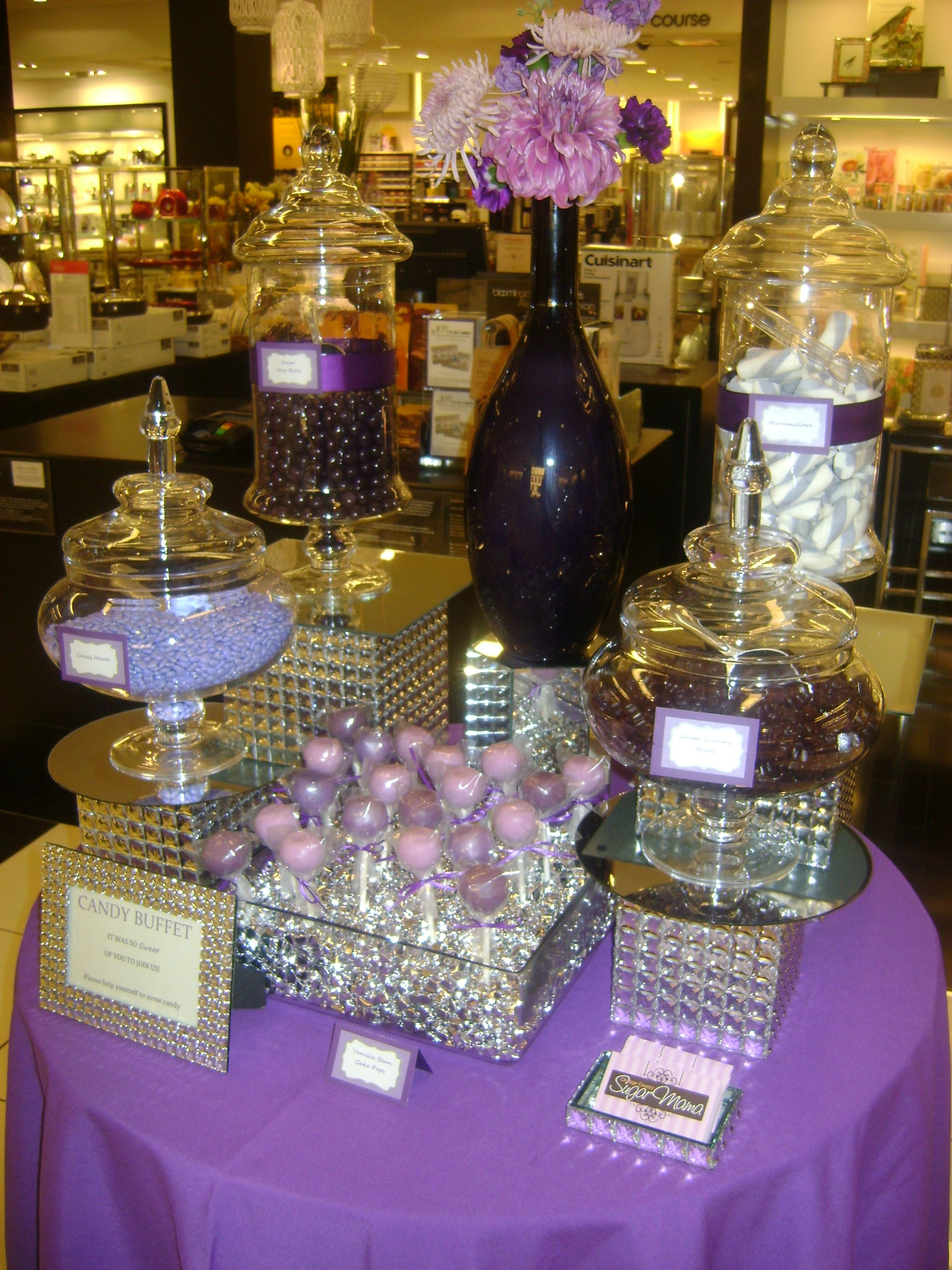 Elegant Purple And Silver Candy Buffet By Oc Sugar Mama Candy Buffet Wedding Candy Buffet Table Wedding Purple Candy Table