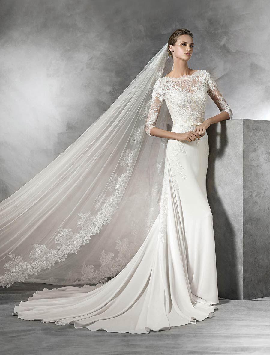 Pronovias tane wedding dress chantilly lace wedding dress and
