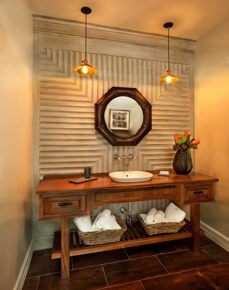 Unique Powder Rooms Part - 15: Textured Walls And Unique Mirror For The Smart Powder Room