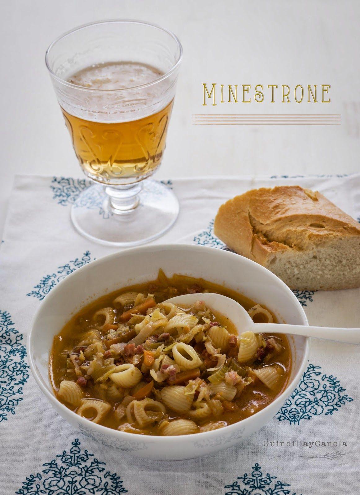 Guindilla y Canela: Minestrone. Sopa jardinera con pasta y jamón.