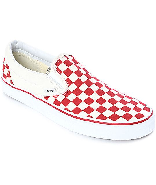 b41dc28d90 Vans Slip-On Red   White Checkered Skate Shoes in 2019