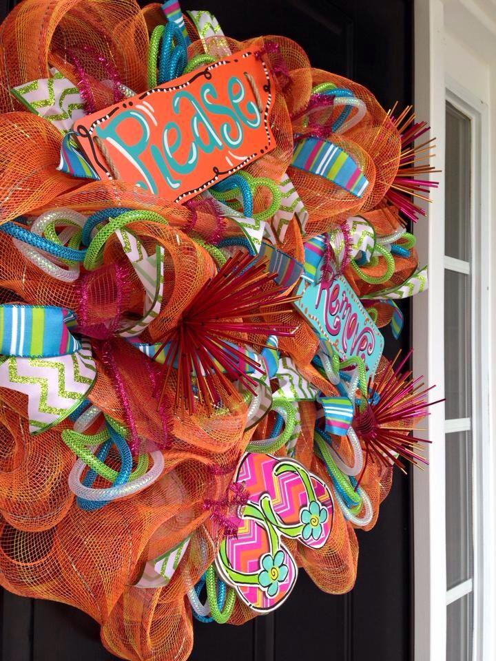 "Orange mesh wreath "" Please remove flip flops!"" MULTI colored ribbon, MULTI colored mesh tubing, and orange decorative burst sticks!"