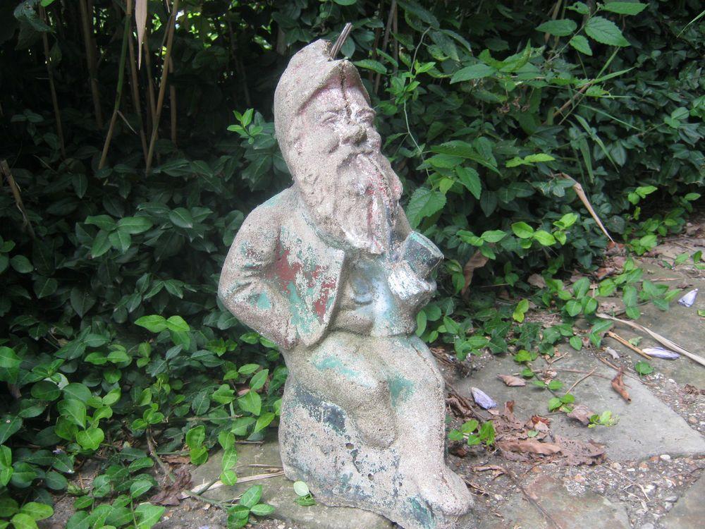 """Old Garden Statue: WONDERFUL GARDEN GNOME VINTAGE CEMENT STATUE 21"""" TALL OLD"""