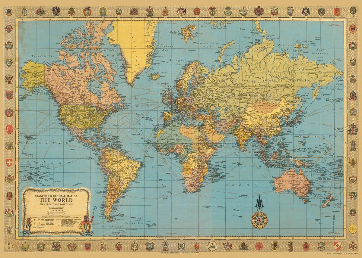 Amazon cavallini co world map decorative decoupage poster amazon cavallini co world map decorative decoupage poster wrapping paper sheet health personal care gumiabroncs Image collections