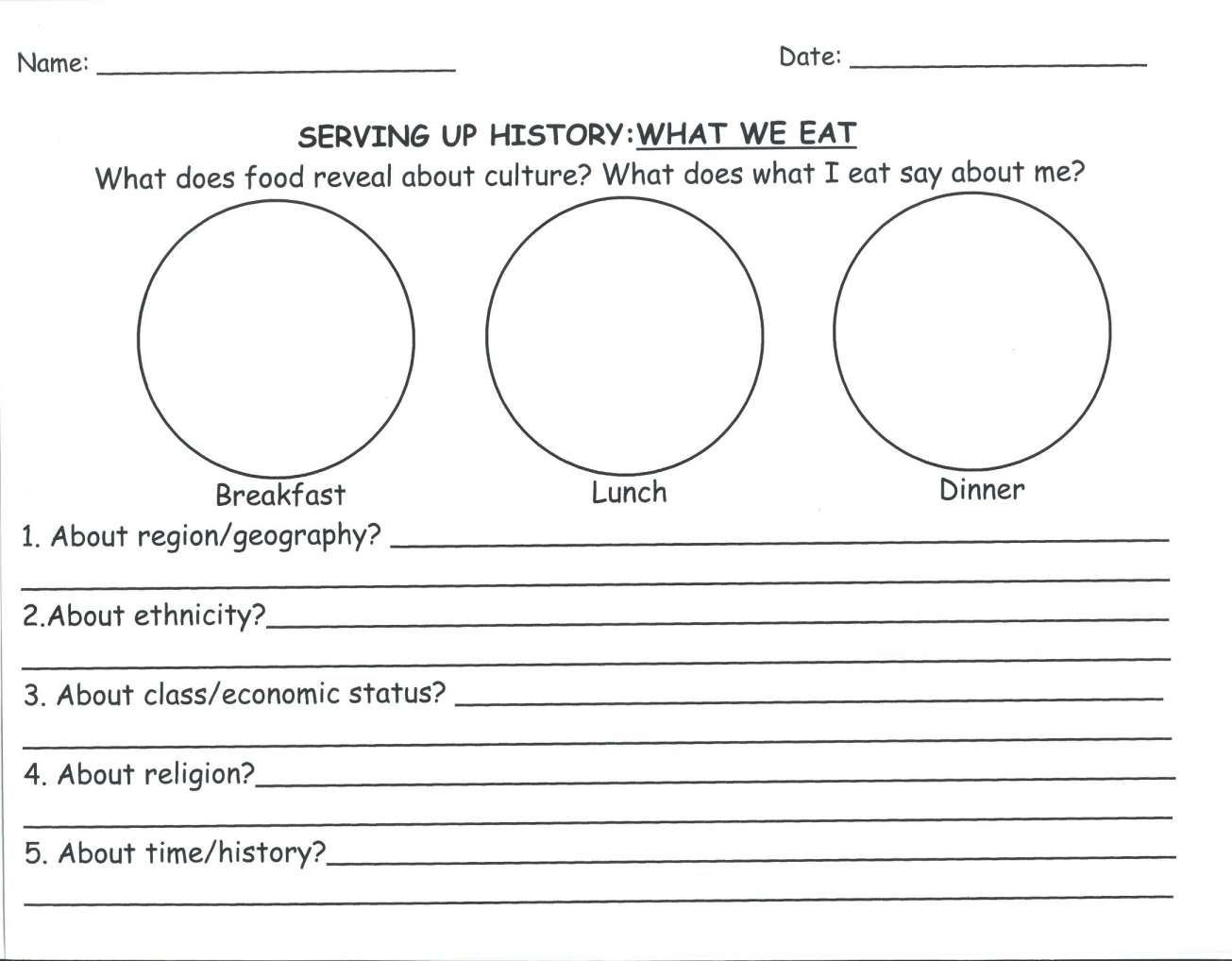 12 2nd Grade Culture Food Worksheet