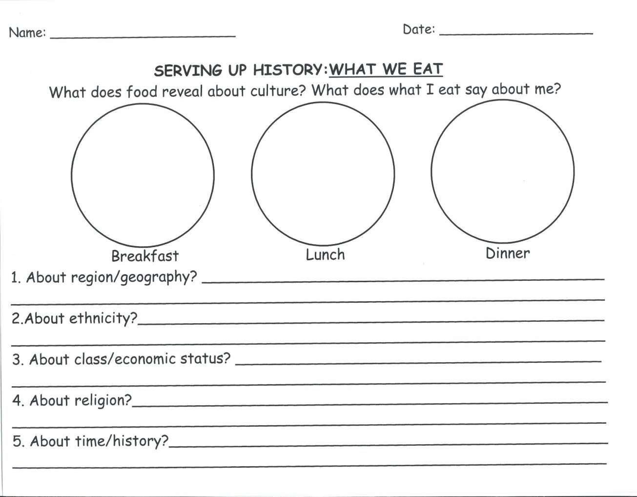 12 2nd Grade Culture Food Worksheet