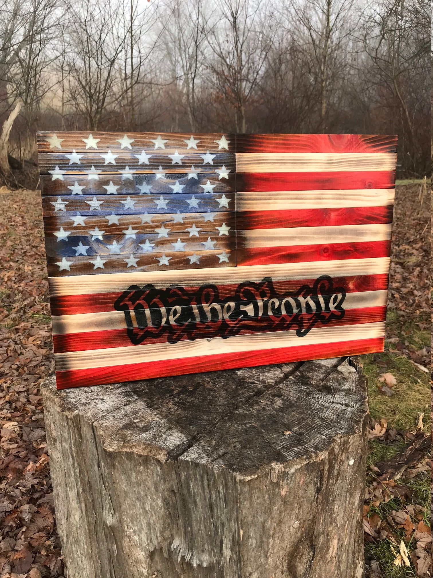 Patriotic Rustic American Flag Us Flag We The People Wood