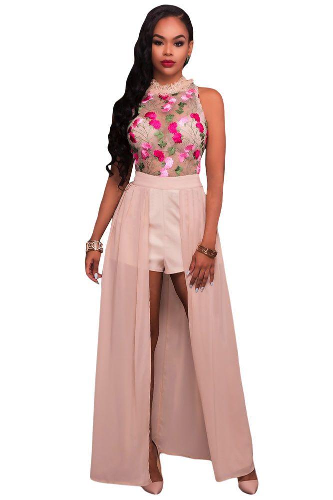 f93d16d221de Pink Sheer Mesh Embroidery Chiffon Romper Maxi Dress 64625 S   GabriellesLingerie  ClubRomperMaxi  Clubwear